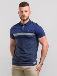 D555  SHORT SLEEVE BLOCK STRIPE  POLO WITH POCKET  LAWSON NAVY 2 - 6XL