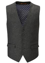 SKOPES   HERITAGE COLLECTION  WOOL BLEND HERRINGBONE WAISTCOAT CHARCOAL KINLOCH