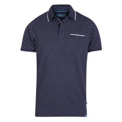 D555  PURE COTTON POLO WITH ALL OVER PRINT AND CHEST POCKET  ROGERS NAVY/WHITE  3 - 6XL