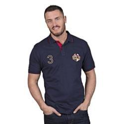 RAGING BULL POLO - Short Sleeve Jersey Polo with Crest  NAVY 3 - 6XL
