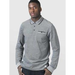 D555 LONG SLEEVE POLO WITH JACQUARD COLLAR AND CUFF  CHIGBO  CHARCOAL MELANGE 4XL