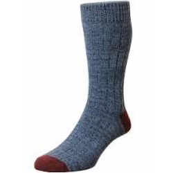 HJ Hall CHUNKY COTTON RICH CASUAL SOCK DENIM/RED 11-13 UK