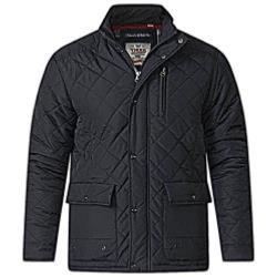 SALE - D555  FLEECE LINED QUILTED COAT JUSTIN BLACK 3XL