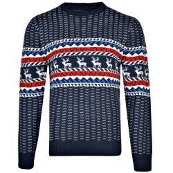 KAM  CHRISTMAS REINDEER JUMPER NAVY 3 - 8XL