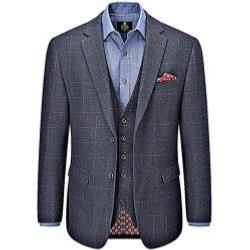 "SKOPES HERITAGE COLLECTION  WOOL BLEND CHECK JACKET NAVY BURNS 50 - 66"" CHEST SHORT AND REGULAR"