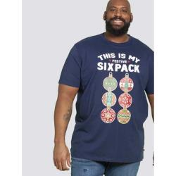 D555  MERRY CHRISTMAS TEE SHIRT  FESTIVE SIXPACK NAVY 3 - 6XL