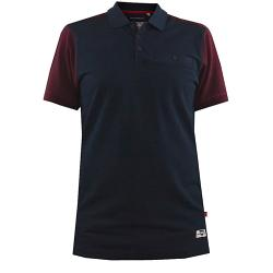 D555 KING SIZE MENS CUT AND SEWN COTTON PIQUE POLO WITH CHEST POCKET TERRACE NAVY  7 - 8XL
