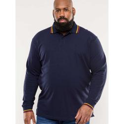 D555 LONG SLEEVE PIQUE POLO SHIRT WITH CONTRAST TIPPING DETAIL WELLINGTON NAVY  3 - 6XL