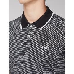 BEN SHERMAN TEXTURED STRIPE POLO BLACK 2 - 5XL