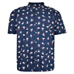 ESPIONAGE CHRISTMAS PRINT SHORT SLEEVE SHIRT  NAVY FESTIVE POLAR BEAR 3 - 8XL